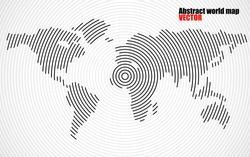 Abstract world map of radial lines, geography background, halftone concept, vector