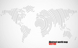 Abstract world map of radial lines, technology style. Vector