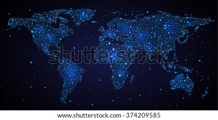 abstract world map on night sky