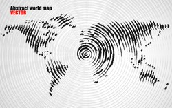 Abstract world map with ink brush. Vector