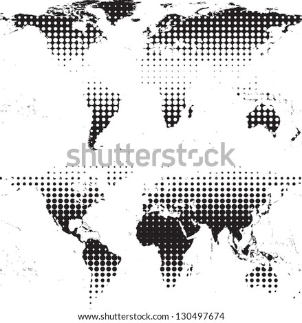 abstract world maps with halftones