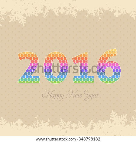 Abstract Year 2016 Numbers Symbol Badge, Tags, Labels, Banner, Greeting Card Design #348798182