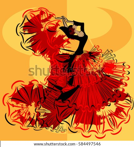 abstract yellow background and Spanish dancer in red-black dress