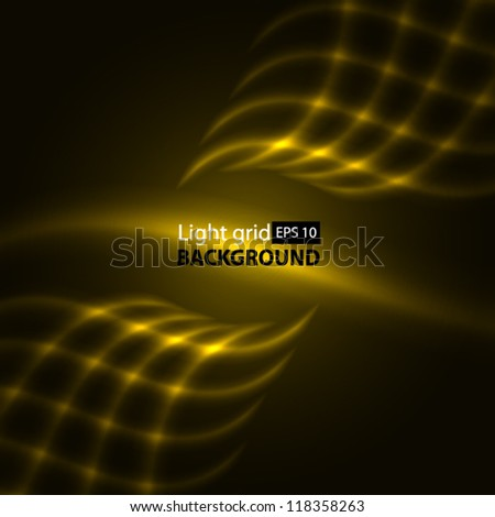 Abstract yellow background. Glowing grid.