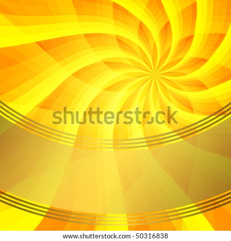 Abstract yellow background with sun-flower and gold banner (vector EPS 10)