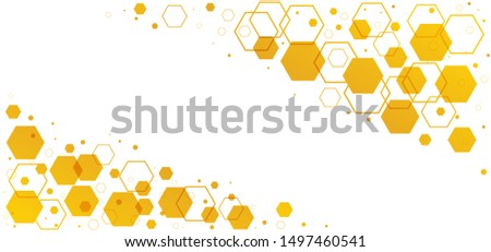 Abstract yellow beehive raster background plate. Honeycomb cells pattern. Funny bee honey shapes vector icons for banner or wallpaper. Texture hexagon signs.