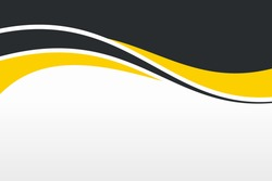 Abstract Yellow Black Wave Background Design with Empty Space for Text Template Vector