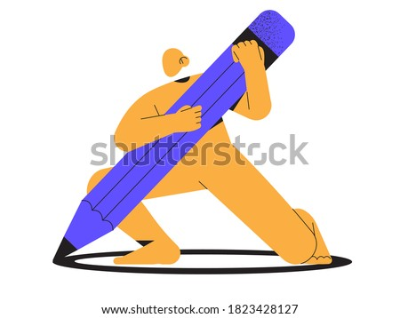 Abstract yellow character hold big pencil in hands. Trendy minimalistic person for ui, web design. Designer, architect, technical project drawing concept. Web design studio or architect bureau.