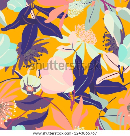 Abstract yellow floral seamless pattern with magnolias and leaves. Vintage tender spring texture with plants from the garden. Texture with big floral elements.