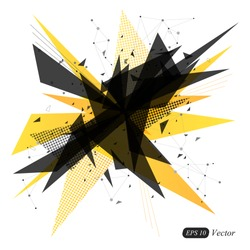 Abstract yellow geometric triangle modern vector background. Abstract explosion. Vector illustration.