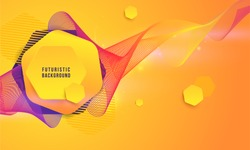 Abstract Yellow Hipster Technological Hexagonal Background Equalizer Speaking Motion Sound, wave of blurred lights. Fashion Vector Design Hexagonal Dynamic Forms Pattern Vector Illustration
