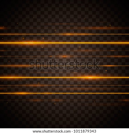 Abstract yellow laser beams. Isolated on transparent black background. Vector illustration, eps 10. stock photo