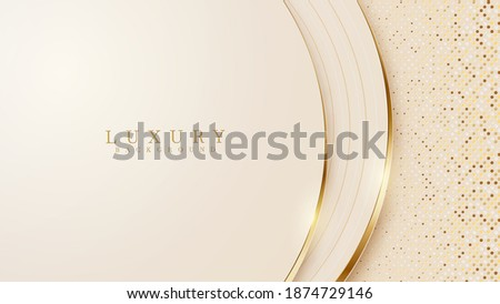 Abstract yellow luxury background with golden line , paper cut style 3d. vector illustration.