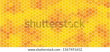 Abstract yellow orange beehive raster background plate icon Honeycomb bees hive cells pattern sign Funny bee honey shapes vector icons for banner, card,wallpaper. Fun texture hexagon cell signs Amber
