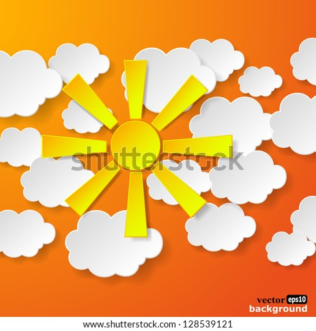 Abstract yellow paper sun and white paper clouds on orange background. Vector eps10 illustration