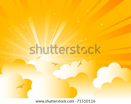 Abstract yellow sky with clouds