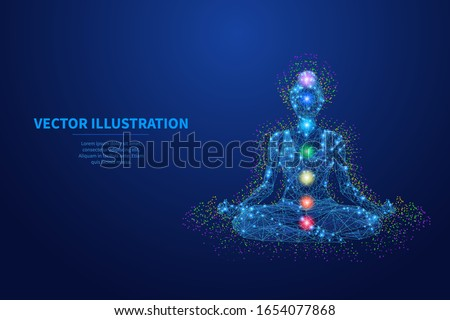 Abstract young women seats in lotos position and meditates. Low poly wireframe digital yoga and meditation concept. Vector colorful illustration of chakras. Polygons, particles and connected dots. Foto stock ©