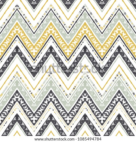 Abstract zigzag pattern for cover design. Retro chevron vector background. Geometric decorative seamless - Shutterstock ID 1085494784