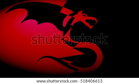 abstraction dragon red black