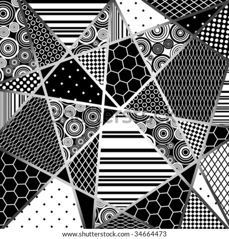 abstraction from decorative pattern fragments in black, grey and white tones