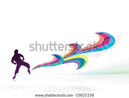 abstraction on a background of magician create a magic power in his foot, vector illustration