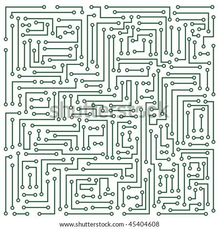 Abstraction representing white electronic microcircuit on darkly green background