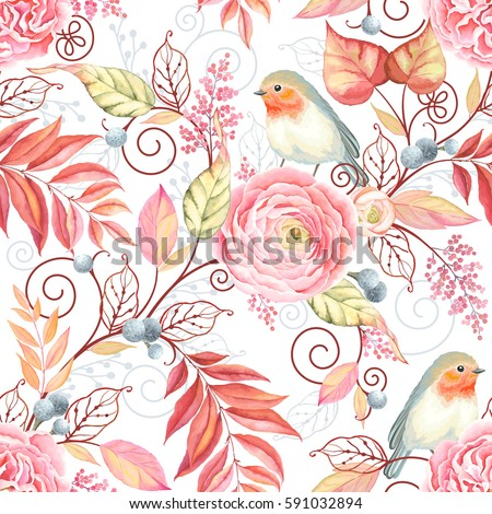 Abstraction seamless pattern with bird Robin, flowers Ranunculus, English Rose and colorful leaves. Fantasy vector illustration on white background.