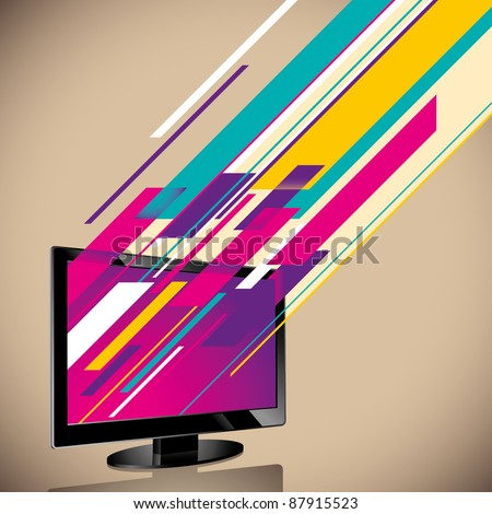 Abstraction with lcd tv. Vector illustration.