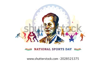 Abtract illustration of Indian National Sports Day background concept