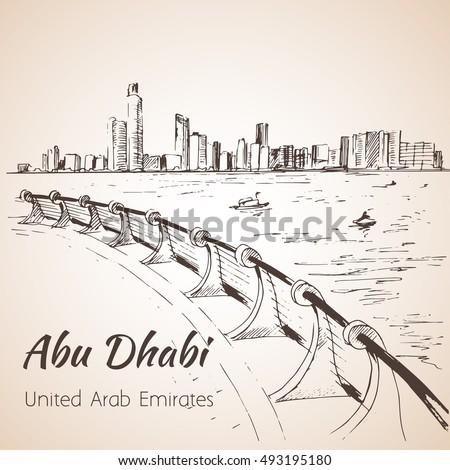 abu dhabi cityscape sketch