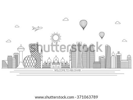 Abu Dhabi detailed skyline. Travel and tourism background. Vector background. line illustration. Line art style