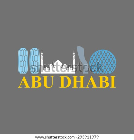 Abu Dhabi sign. Sight UAE. Skyscrapers and a mosque. Vector Flat design city skyline silhouette. Logo  landmarks in United Arab Emirates