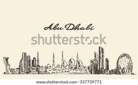 abu dhabi skyline  vector