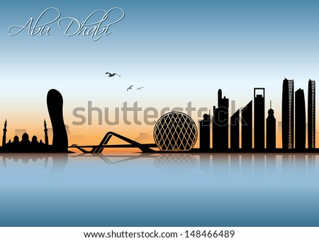 Abu Dhabi skyline - vector illustration
