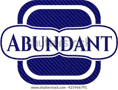 Abundant emblem with jean texture
