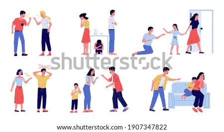 Abuse. Family conflict with angry screaming parents and crying children, domestic violence between wife and husband. Parental divorce, partners dissolution. Vector man and woman quarreling scenes set Сток-фото ©