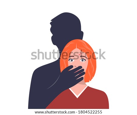 Abuse or domestic violence concept. The man covers the woman's mouth with his hand. A woman in tears and with traces of beating on her face. Social problems, aggression and abuse against women. Stock fotó ©