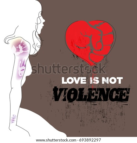 Abused young woman with bruises on arm and shoulder. Red heart, symbol of love, formed as fist. Stop violence against women concept. Vector illustration