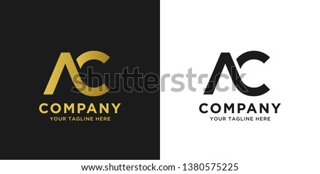 AC elegant logo template in gold color, vector file .eps 10, text and color is easy to edit Foto stock ©