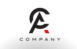 AC Logo.  Letter Design Vector with Red and Black Colors.