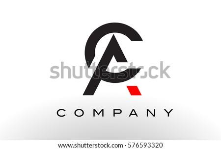 alternating current symbol. ac logo. letter design vector with red and black colors. alternating current symbol