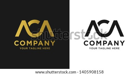 ACA initial letter elegant logo template in gold color, vector file .eps 10, text and color are easy to edit Imagine de stoc ©