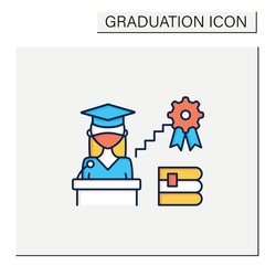 Academic career color icon. Personal growth. Motivation speech. Work at university. Professor career. Professional development. Graduation concept.Isolated vector illustration