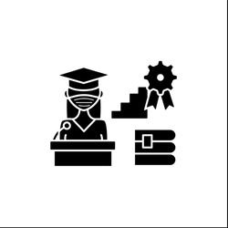 Academic career glyph icon. Personal growth. Motivation speech. Work at university. Professor career. Professional development. Filled flat sign. Isolated silhouette vector illustration