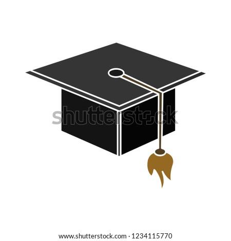 academic graduation cap isolated vector - diploma achievement ceremony illustration sign . university high degree sign symbol