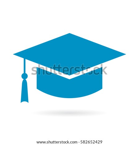 Academic graduation hat vector icon isolated on white background