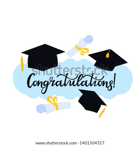 Academic mortarboard with Tassel. University Graduation Cap. Congratulations hand drawn lettering with hat and diploma tied with a ribbon. Congratulatory posters for the festive ceremony