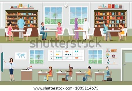 Klassenzimmer mit Kindern - Kostenlose Vektor-Kunst, Archiv-Grafiken ...