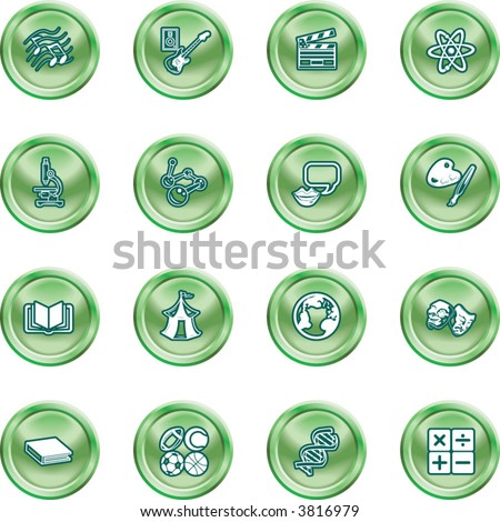 Academic study subject icons A subject category icon set eg. science, maths, language, literature, history, geography, musical, physical education etc
