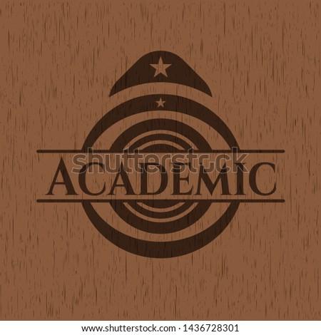 Academic wooden signboards. Vector Illustration.